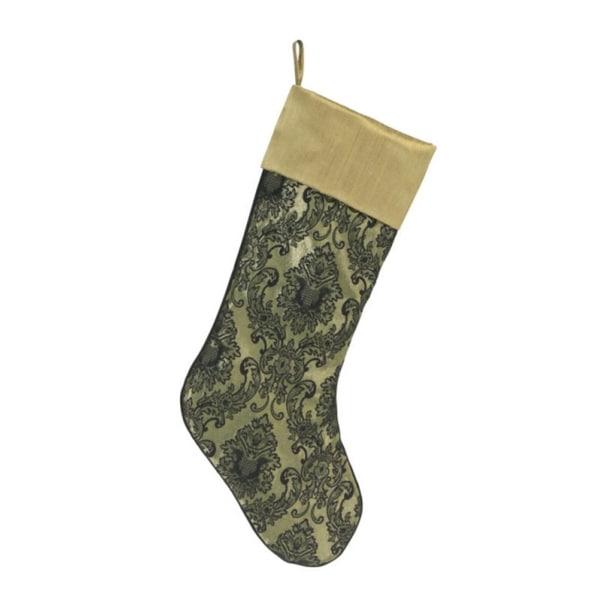 "20"" Elegant Black Damask Patterned Christmas Stocking with Gold Cuff"