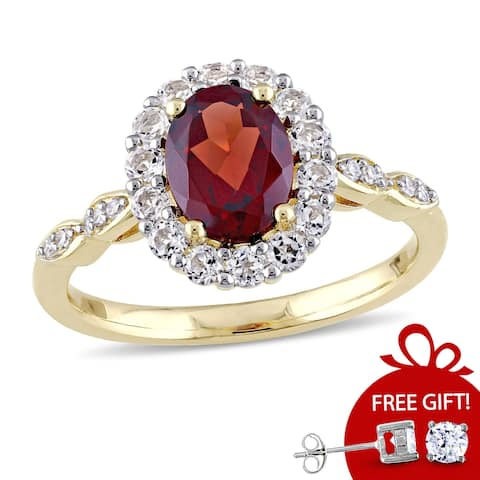 Miadora 14k Yellow Gold Garnet, White Topaz and Diamond Accent Vintage Halo Ring - Red