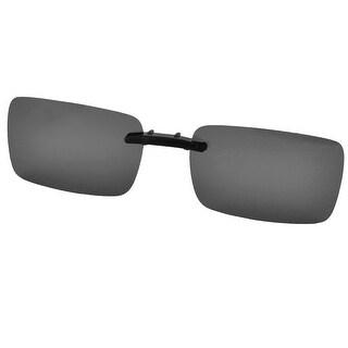 Unisex Plastic Hiking Rimless Lens Clip On Polarized Sunglasses Glasses Black