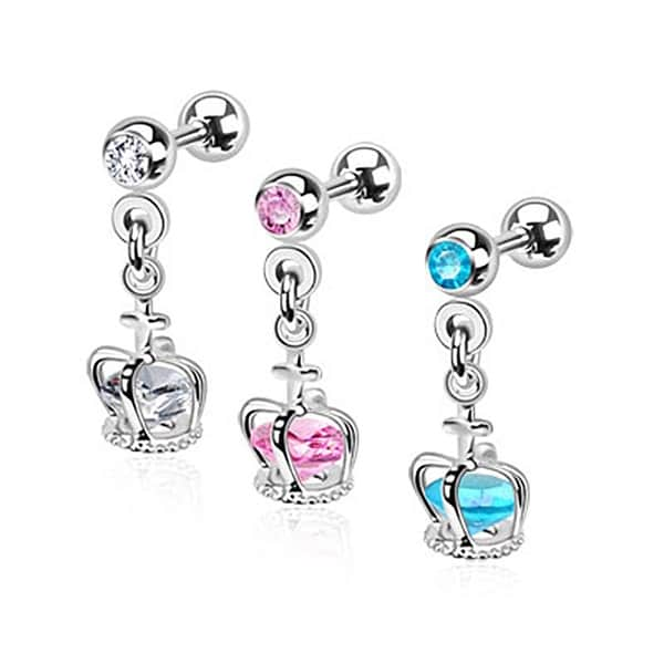 Crown Cage Dangle with Loose Gem Cartilage/Tragus Barbell 316L Surgical Steel (Sold Ind.)