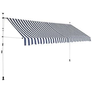"vidaXL Manual Retractable Awning 157.5"" Blue-White Stripes"