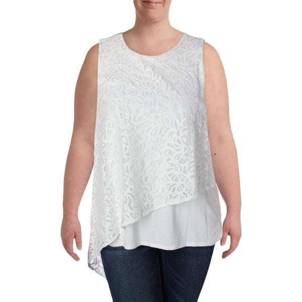 Vince Camuto Womens Blouse Asymmetric Lace Overlay