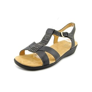 Naturalizer Wallie Women Open-Toe Leather Black Slingback Sandal
