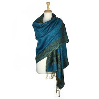 "Pashmina Shawl Scarf Wrap Border Pattern Double Layered Reversible - Black - 28"" x 70"""