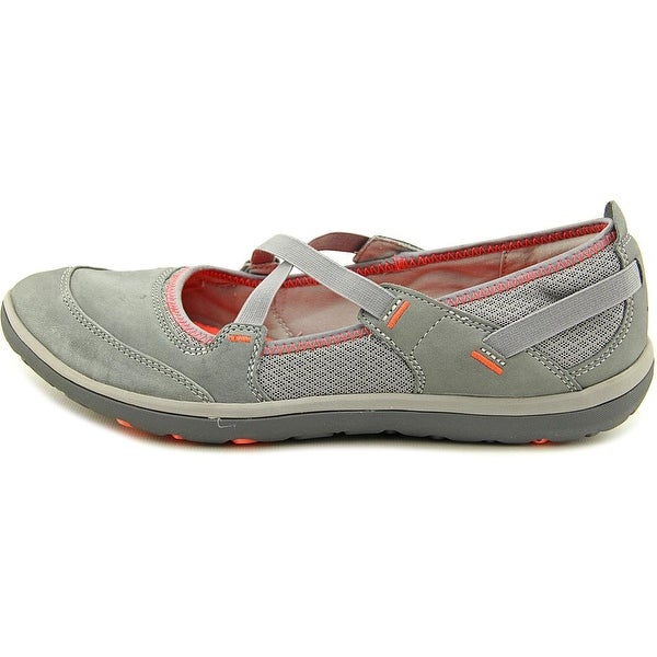 Round Toe Leather Gray Mary Janes