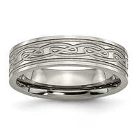 Chisel Flat Brushed and Polished Titanium Ring with Laser Design (6.0 mm)