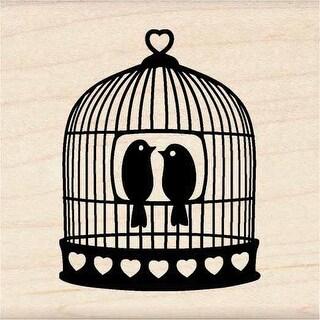 "Inkadinkado Mounted Rubber Stamp 1.75""X1.75""-Heart Bird Cage"