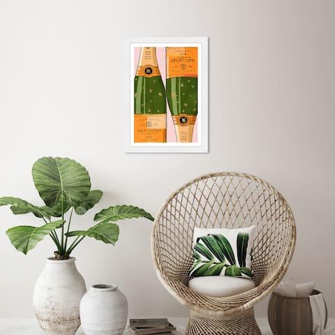 Wynwood Studio 'Shiny Champagne' Drinks and Spirits Orange Wall Art Framed Print