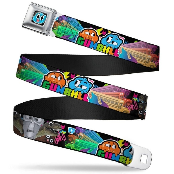Gumball Face Close Up Black Full Color Gumball School Bus Darwin Gumball Seatbelt Belt