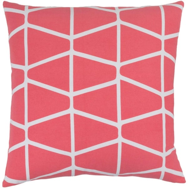 "20"" Trapezium Delight Coral Pink and Albino White Throw Pillow – Down Filler"
