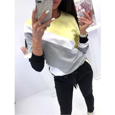 Women's Loose Round Neck Stitching Long-Sleeved Sweater