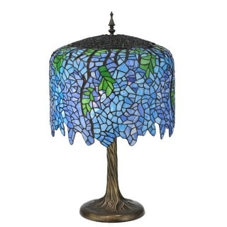 "Meyda Tiffany 118689 Tiffany Wisteria 2 Light 28"" Tall Hand-Crafted Table Lamp with Stained Glass"