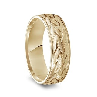 Link to 14k Yellow Gold Satin Brush Finished Men's Wedding Band with Engraved Celtic Knot Motif - 7mm Similar Items in Wedding Rings