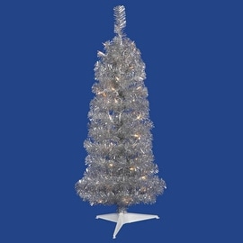 3' Pre-Lit Silver Artificial Pencil Tinsel Christmas Tree - Clear Lights
