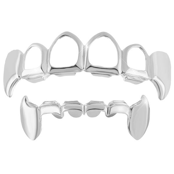 Open Face With fangs Grillz Set Top Bottom On Sale White Gold Finish