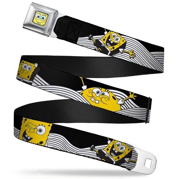 Sponge Bob Face Close Up SpongeBob Action Poses Wave Black White Yellow Seatbelt Belt