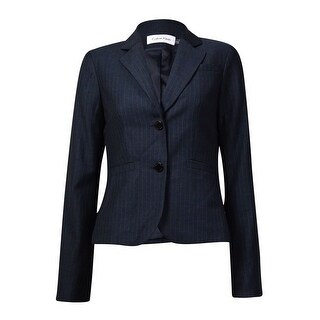 Calvin Klein Women's Notched Lapel Pocket Pinstripe Blazer