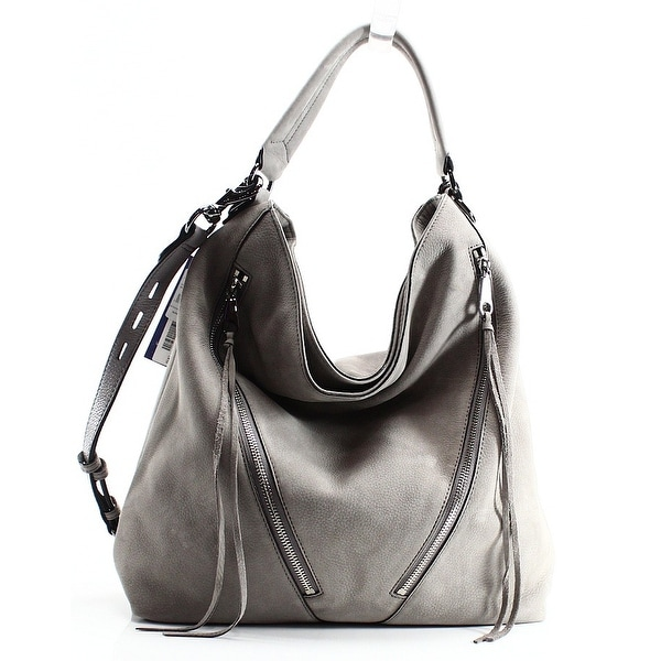 45bd0b0d2 Shop Rebecca Minkoff NEW Gray Nubuck Leather Moto Zip Hobo Shoulder ...