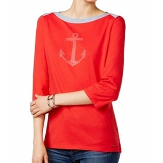 Tommy Hilfiger NEW Red Anchor Studded Women's XL Chambray Knit Top