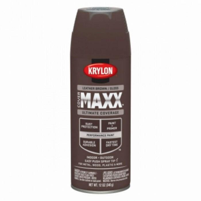 Krylon K09128000 Covermaxx Performance Spray Paint Gloss Leather Brown 12 Oz
