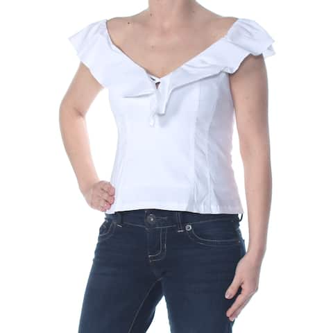 NANETTE LEPORE Womens White Ruffled Darted Cap Sleeve V Neck Party Top Size: 0