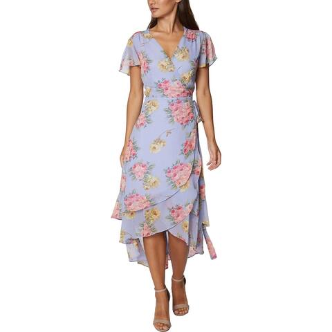 Betsey Johnson Women's Chiffon Floral Print Tiered Short Sleeve Wrap Dress - Blossom Bliss