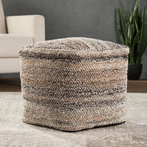 """Evane Indoor/ Outdoor Striped Gray/ Tan Cube Pouf - 18""""X18""""X18"""""""