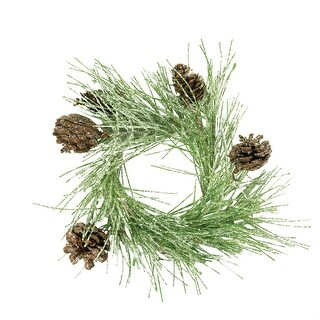 "11"" Iced Green Pine and Pine Cone Christmas Candle Ring"