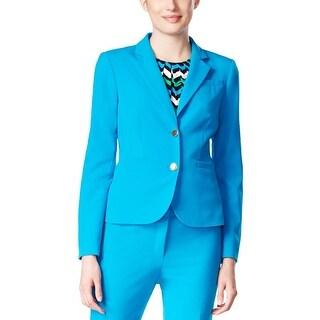 Calvin Klein Womens Petites Two-Button Blazer Ponte Single Vent