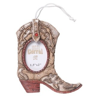 Gift Corral Western Ornament Cowboy Boot Frame Pink White