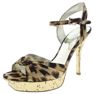 Guess Womens Believe Platform Heels Animal Print Ankle Strap - 6 medium (b,m)