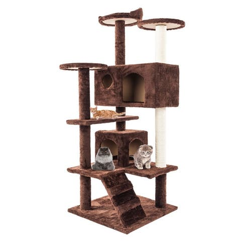 "52"" Sisal Rope Plush Cat Climb Tree Cat Tower"