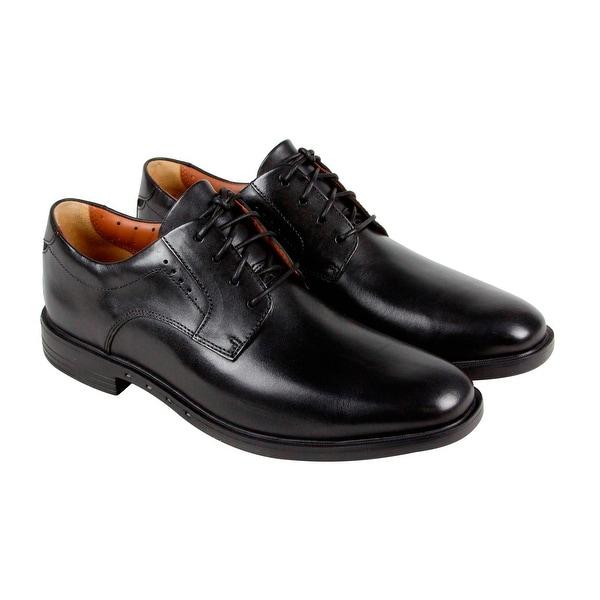 Clarks Unbizley Plain Mens Black Leather Casual Dress Lace Up Oxfords Shoes