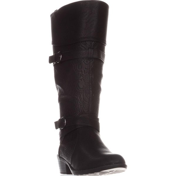 Easy Street Kelsa Knee High Riding Boots, Black Embossed - 10 us