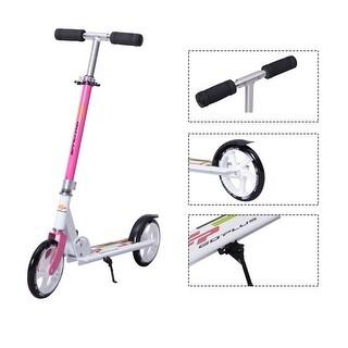 Goplus Foldable Aluminum Adults Kids Kick Scooter Height Adjustable w Kickstand Pink
