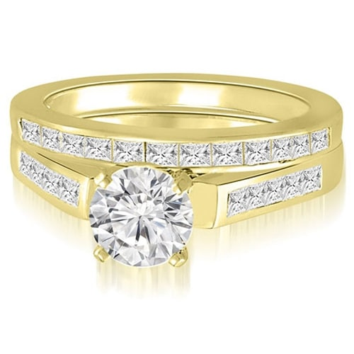 1.85 cttw. 14K Yellow Gold Round And Princess Cathedral Diamond Bridal Set