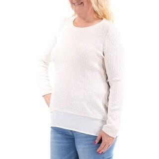 Womens Ivory Long Sleeve Jewel Neck Sweater Size L