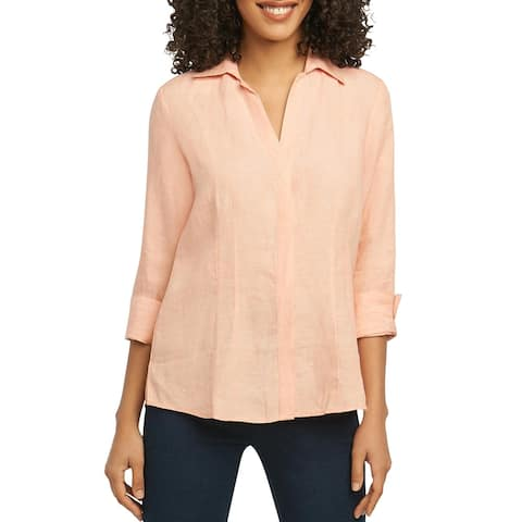 Foxcroft Womens Taylor Button-Down Top Linen 3/4 Sleeves