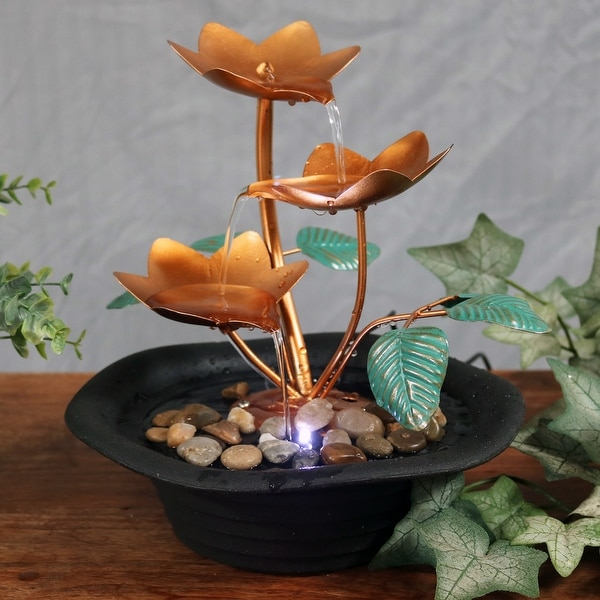 Sunnydaze Copper Blossom Cascading Tabletop Fountain with LED Light 10 Inch Tall