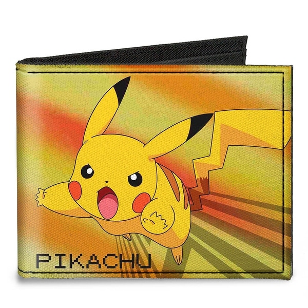 Pikachu Attack Pose + Pok�mon Pok� Ball Yellows Greens Blues Canvas Bi Fold Canvas Bi-Fold Wallet One Size - One Size Fits most