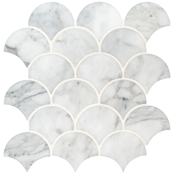 "MSI SMOT-CAL-SCALOP10MM Calacatta Blanco - 12-13/16"" x 10-7/16"" Fan Mosaic Sheet - Polished Marble Visual - Sold by Carton (9.3"