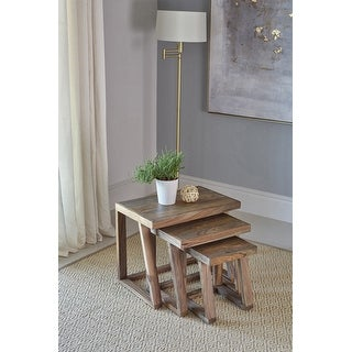 Link to Carbon Loft Dahab Natural Sheesham Grey 3-piece Nesting Table Similar Items in Living Room Furniture