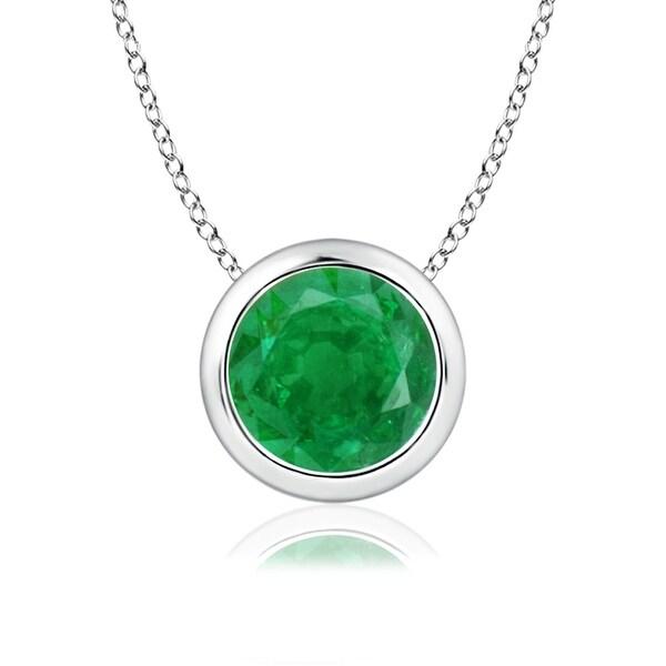 Angara Bezel Set Round Emerald Solitaire Pendant - Green