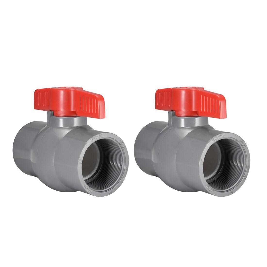 PVC Ball Valve Supply Pipe Knob Thread Ends 2 Inner Hole Diameter Red Gray 2Pcs