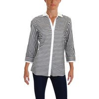 Foxcroft NYC Womens Button-Down Top Striped Collared - 10