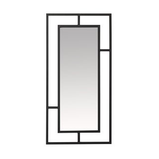 Offex Camber Powder Coated Steel Framed Decorative Rectangle Mirror - Black