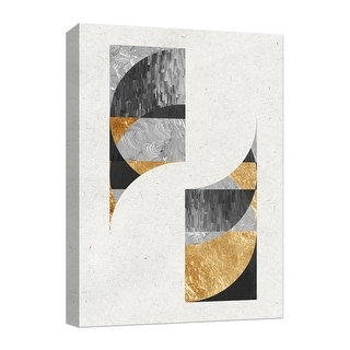 """PTM Images 9-124876  PTM Canvas Collection 10"""" x 8"""" - """"Golden Circles III"""" Giclee Abstract Art Print on Canvas"""