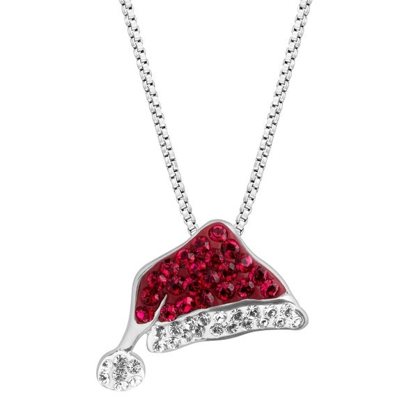Crystaluxe Santa Hat Pendant with Swarovski Crystals in Sterling Silver - Red
