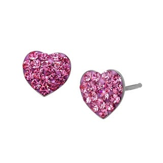 Heart Stud Earrings with Rose Swarovski Crystal in Sterling Silver - Pink
