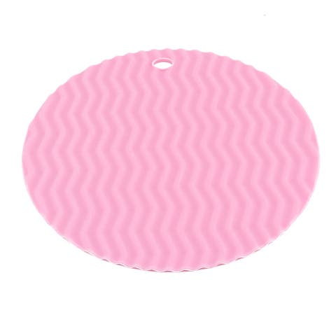 Family Silicone Wave Pattern Round Shaped Table Cup Bowl Heat Resistant Mat Pink